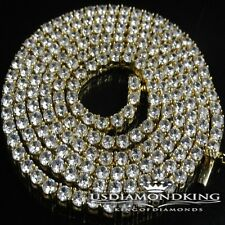 MEN WOMEN 14K YELLOW GOLD FINISH MENS 1 ROW SIMULATED A++ DIAMOND NECKLACE CHAIN