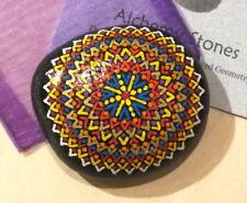 Hand Painted Alchemy Stone w. Red, Gold, Orange & Yellow Complex Mandala Design