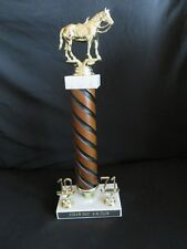 """Equestrian Trophy 1971 Straw Hat 4-H Vintage Wood, Marble - Made in Italy 14.5"""""""