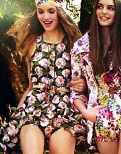 Genuine Runway Dolce & Gabbana Pure Silk Floral Ruched Green Dress Size 40