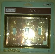Allen + Roth Triple Toggle Polished Brass Finish Lot of 3 Wall Plate #0140209  N