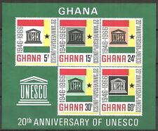 Ghana - 20 Jahre UNESCO Block 23 postfrisch 1966  Mi.Nr. 274-278