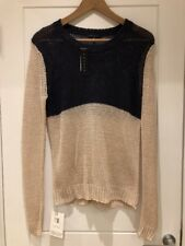 Theory Beige Navy Colour block Linen Sweater Jumper S P Small New NWT