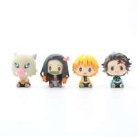 Anime Demon Slayer Kamado Nezuko Kimetsu no Yaiba PVC Figure Toys Gift 4pcs Set