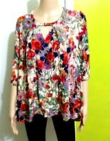 Jodifl Women's Boho Tunic Keyhole Floral 3/4 Sleeves Blouse Top Size Small