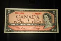 1954 $2 Dollar Bank of Canada Banknote RG1024698 AU 50 Crisp