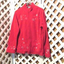 BonWorth Ladies Snowflake Themed Red Fleece Jacket P/S