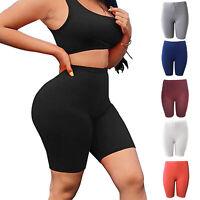 Damen Kurze Shorts Sports Radlerhose Stretch Fitnesshose Gym Kurzhose Leggings