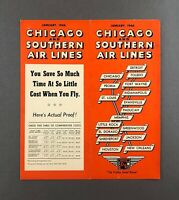 CHICAGO & SOUTHERN AIRLINES SYSTEM TIMETABLE JANUARY 1946 FLIGHT SCHEDULE
