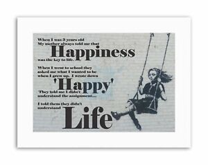 HAPPINESS HAPPY BANKSY GIRL SWINGING Typography Quote Canvas art Prints