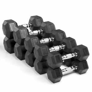 Dumbbells Rubber Encased Weights Sets Hexagonal Dumbbell Pairs Hex 2.5kg-12.5kg
