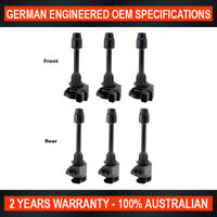 Set of 6 Front Rear Ignition Coil for Nissan Maxima A32 94-99 ref IGC148 IGC149