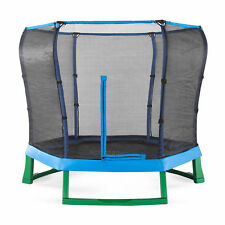 7ft Blue Hexagonal Junior Trampoline Enclosure Kids Outdoor Play Toys