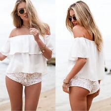 2016 Summer Women Sexy Off Shoulder Boho Chiffon Blouse Vest Shirt Crop Tops