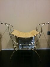 Vintage metal scroll vanity yellow gold mustard seat bathroom powder chair stool