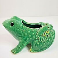 Vintage Art Pottery Medium Frog Toad Planter Flower Pot Vase Figure Green