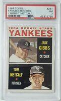 1964 Topps Yankees Rookies Jake Gibbs / Tom Metcalf #281 - PSA 7