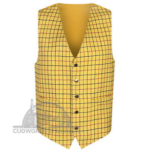 """Wool Check Tweed Waistcoat 36""""-52"""" Chest BRITISH MADE Deluxe Quality Tattersall"""