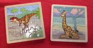 Wild Republic 20pc wooden puzzle (x 2) Giraffe and Dinosaur.
