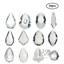 24PCS Chandelier Glass Crystals Lamp Prisms Suncatcher Parts Drops Pendant 38mm