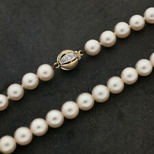 Akoya Perlenkette 42cm Weißgold Gelbgold Verschluss 585er Gold 9 Diamanten H/P1