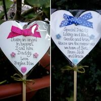 Memorial heart-Special Dad/ Special Mum Grave Ornament- Personalised blue-pink