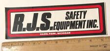 Vintage Rjs Safety Equipment Inc Decal Sticker Racing Driver Suits Hazel Park Mi