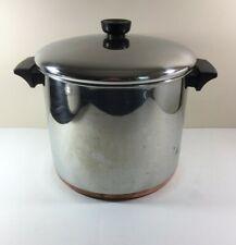 Revere Ware Vintage Stock Pot Stainless Steel Copper Clad 8 Qt