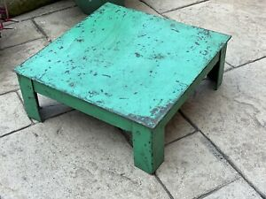 Vintage Indian Steel Hand Made Table Original Green Paint  Great for Display