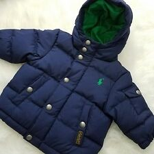 Polo Ralph Lauren RL Baby Puffer Jacket Sweater Casual Winter 6 mos Blue A1