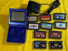Nintendo Game Boy Advance SP Cobalt Blue Handheld System GBA 10 Games Conditions