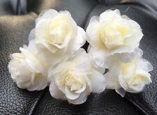 5 Bridal Wedding  Prom Ivory Rose Hair Pins Clips handmade