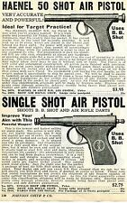 1936 small Print Ad of Haenel 50 Shot Air Pistol & JGA Single Shot BB Gun
