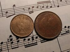 FRENCH EQUATORIAL AFRICA 50 c + 1 Fr 1942-SA KM1+2 Brass 1-year types RARE PAIR