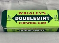 Wrigley's Doublemint Chewing Gum Green Tin Box w/Hinged Lid Empty Advertising
