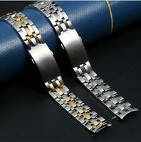 Curved Stainless Steel Solid Metal Watch Strap Band Bracelet Replacement 19 20mm