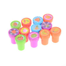 12Pcs/lot Children Plastic Fruits Rubber Self Inking Stamp Seal Toy Kids Gift WH