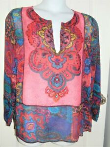 Chico's Multicolor Sheer Tunic Embroidered Beaded India Top  Size 3