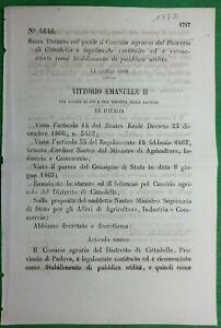 CITTADELLA,REGIO DECRETO COMIZIO AGRARIO RICONOSCIUTO COME PUBBLICA UTILITA-1547