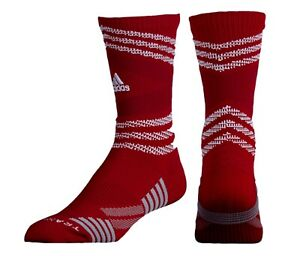 ADIDAS Speed Mesh Team Traxion Red White Grey Crew Football Socks Mens M 6.5-9