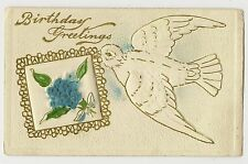ANTIQUE AIR BRUSHED BIRTHDAY GREETINGS POSTCARD BIRD DOVE BLUE FLOWERS 1912