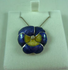 VINTAGE STERLING SILVER AND VITREOUS ENAMELLED DIAMOND SET PANSY PENDANT