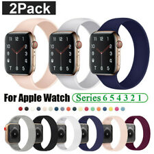2Pack Solo Loop Silicone Band Strap For Apple Watch SE iWatch Series 6 5 4 3 2 1