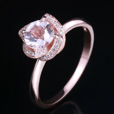 Solid 14K Rose Gold Real Morganite Ring Wedding Fine Diamonds Prong Setting