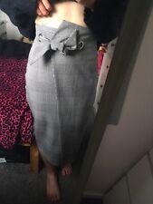 H&m Black White Statement Skirt Bow Belt Tulip Tweed Tartan Plaid Size 8/10