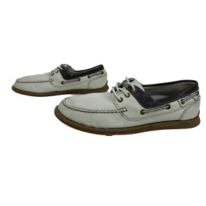 SKECHERS RELAXED FIT Mens Shoes Size 8 EU 42 White Beige Boat Deck Leather Shoes