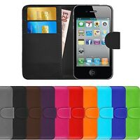 Premium Luxury Leather Flip Wallet Book Case Cover For Apple iPhone 4 / 4S