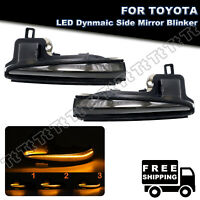 2Pcs Smoked Lens Sequential LED Side Mirror Blinker Lamps For Toyota Tacoma RAV4