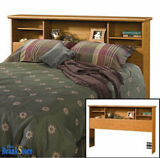 Wood Bookcase Headboard Full Queen Size Bed Bedroom Shelves Furniture Bookshelf
