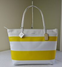 Coach 30511 Sunglow Yellow White Stripe Coated Canvas Tote